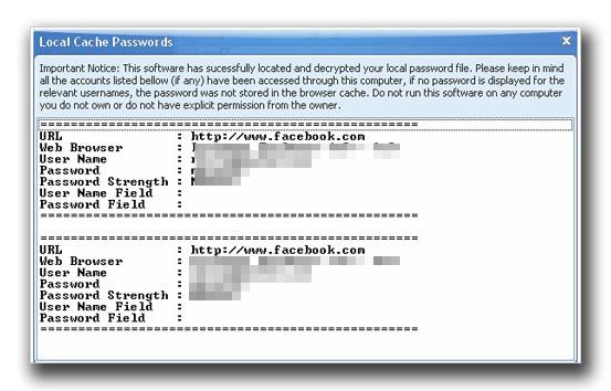 図3:ハッキングしたパスワードを提示するウインドウ