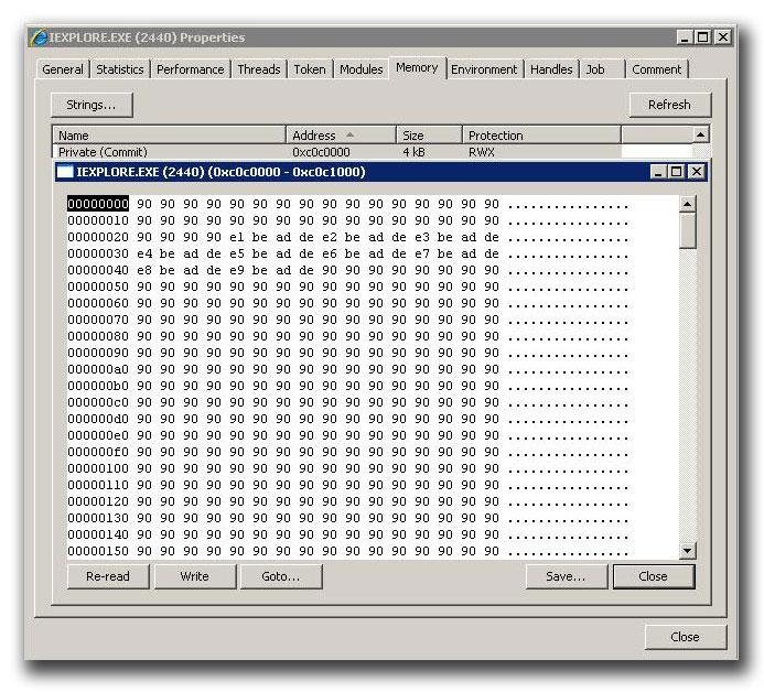 図14:「JS_DLOADER.QOA」の DEP 回避コードにより、実行可能となったヒープ領域属性