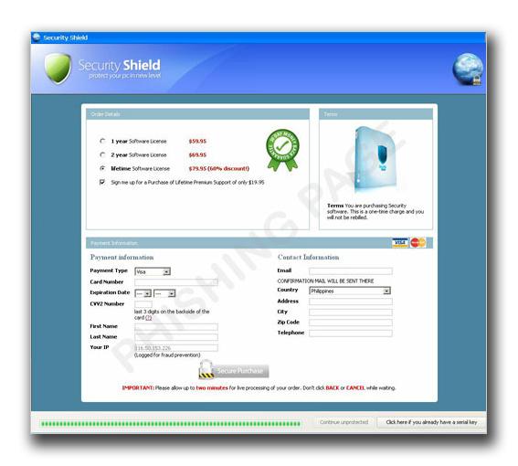 図2:ユーザへ個人情報の入力を促すフィッシングページ