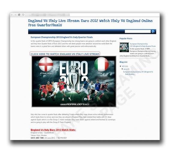 図5:「イングランド対イタリア戦」に便乗した偽ストリーミングサイト