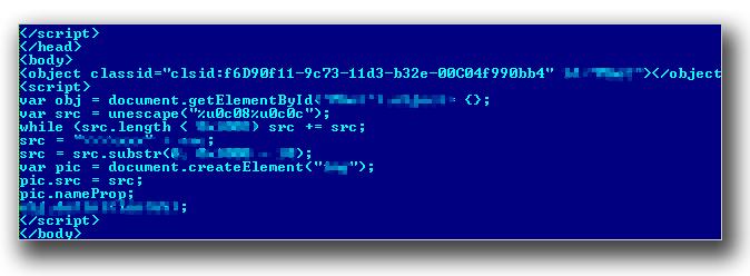 図3:「HTML_EXPLOYT.AE」により指定されたMicrosoft XMLコアサービスの脆弱性攻撃コード