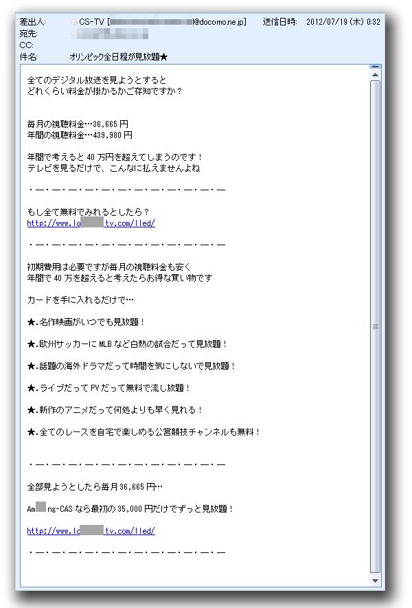 図1:日本語スパムメールの文面
