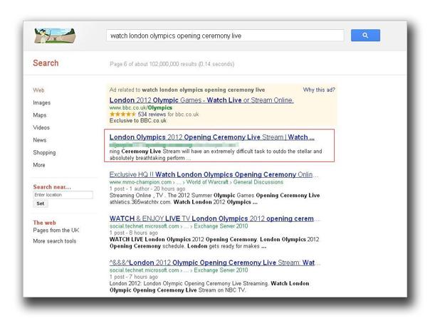 図1:特定のキーワードによる検索結果