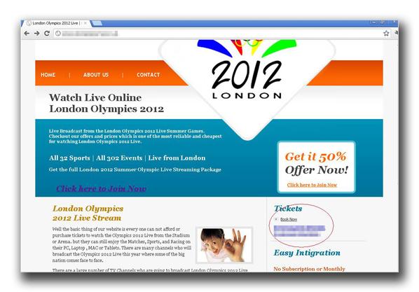 図2:ロンドンオリンピック2012の生放送が観れると装う偽サイト(その1)