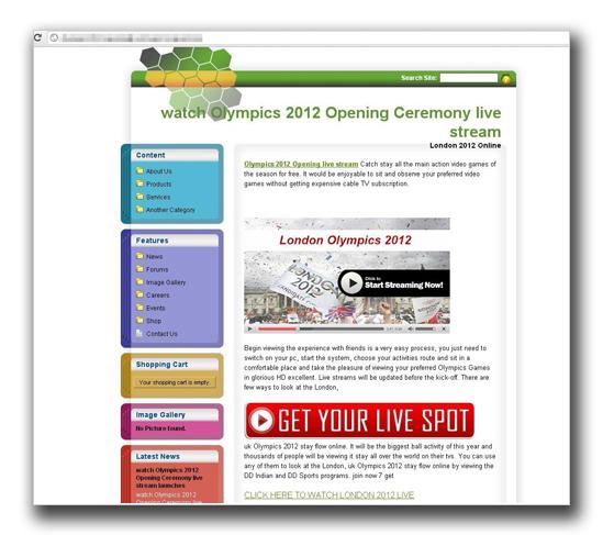 図3:ロンドンオリンピック2012の生放送が観れると装う(その2)