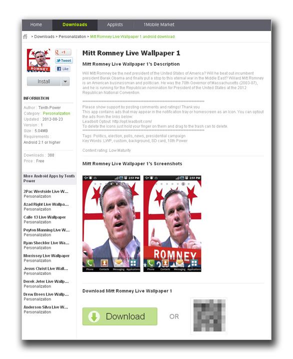 """図2:非公式のサイト内にある""""Mitt Romney Live Wallpaper 1"""" のWebページ"""