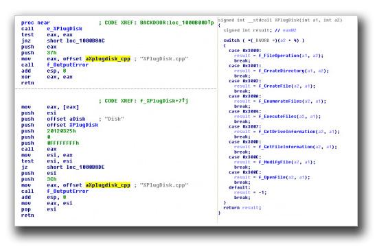 図6:PlugXのディスクおよびファイルマネージャのモジュールの逆アセンブルおよび逆コンパイルしたコード