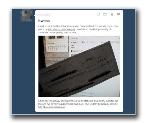 図4:「Online Income Solutions」に誘導する「Tumblr」の投稿