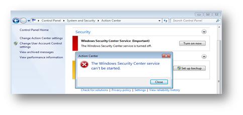 図8:「セキュリティセンター」が表示するエラーメッセージ