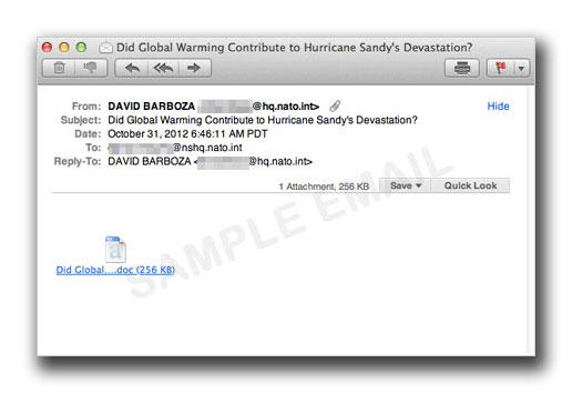 図1:ハリケーン「サンディ」に便乗するEメール