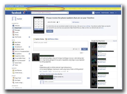 図4:Facebook の偽ホームページ