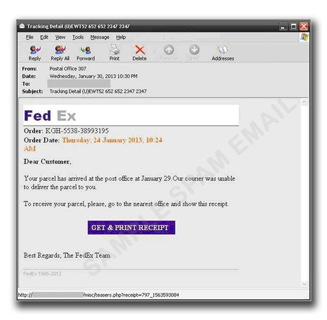 図1:FedEx のスパムメール例