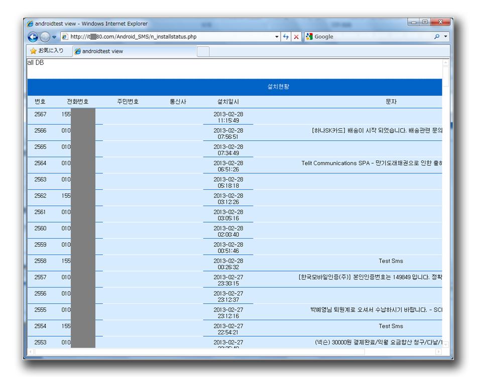 図8:最後の被害が登録されたのが「2013-02-28 11:15:49」。IDが「2567」となっている