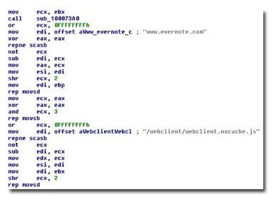 図2:Evernote にアクセスする「BKDR_VERNOT.A」
