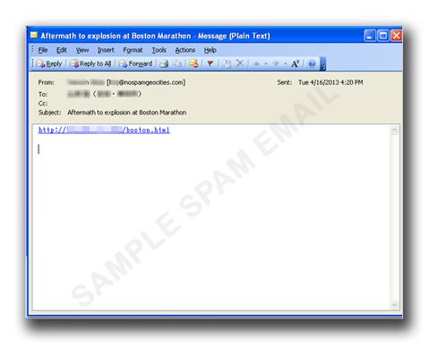 図1:ボストンマラソン同時爆破事件に便乗したスパムメールの一例