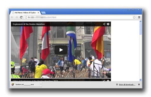 図2:動画が埋め込まれた不正な Web ページ