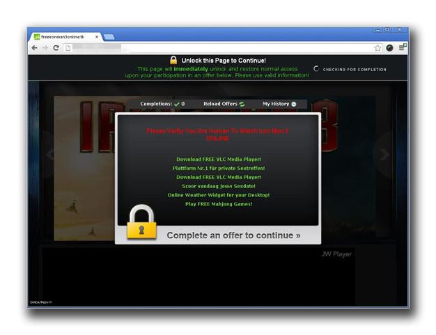 図2:アンケート詐欺へと誘導するページ
