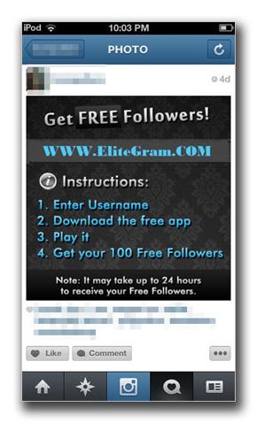 図2:Instagram 上に投稿された「Get Free Followers!」の写真