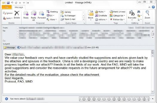 図:中国国防部から送信されたように偽装したメールの一例