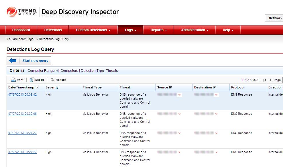 図3:Deep Discovery Inspectorにより表示されたDNSクエリーにおける不正なC&Cサーバとの接続情報