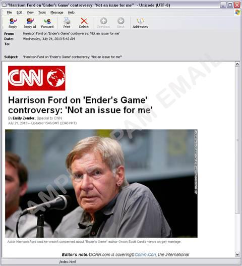 図2:「Ender's Game」に便乗したスパムメールの例