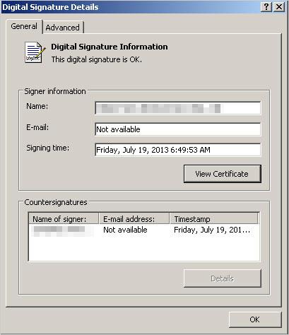 図3:不正動画プレイヤーの更新ファイルの有効なデジタル署名
