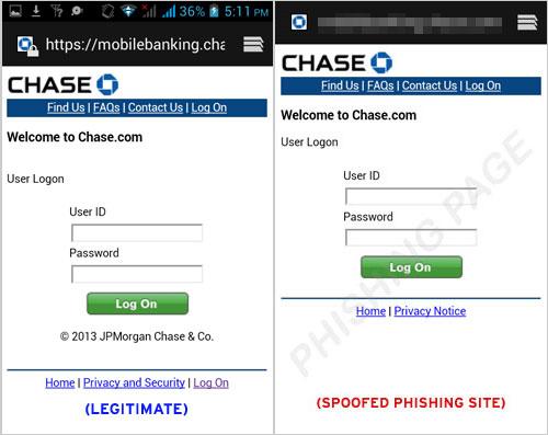 図1:正規のログインサイト(左)と正規Webサイトになりすましたフィッシングサイト(右)>