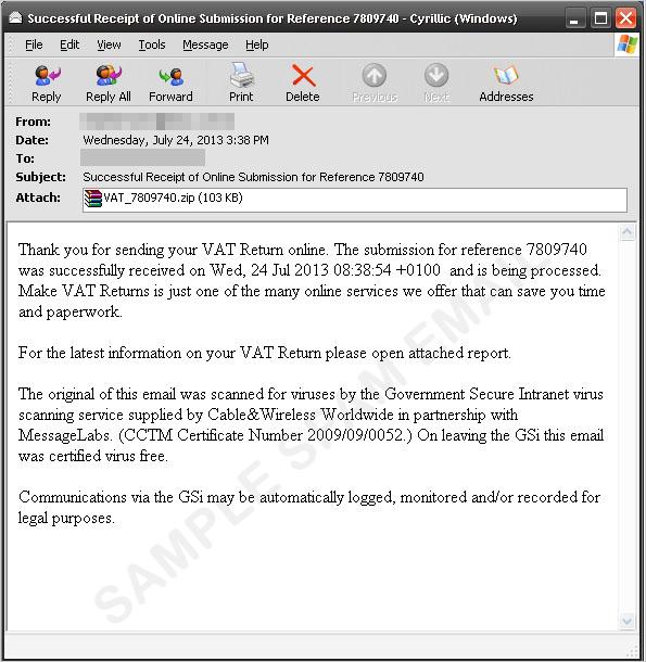 付加価値税還付の受け取りを装うスパムメール