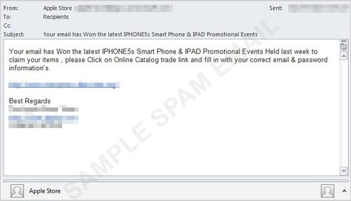 図1:「Apple Store」から送信されたように装ったスパムメールの一例