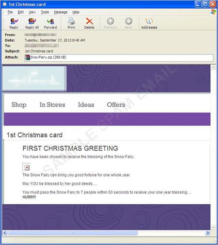 図1:クリスマスに便乗したスパムメールの一例