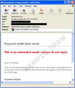 図3:「ZBOT」関連のスパムメールの例
