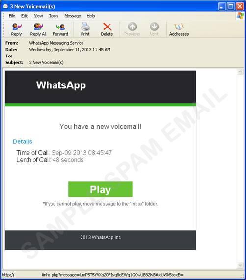 """図1:""""Whatsapp"""" からの通知を装った Eメール"""