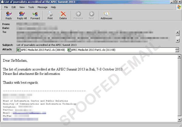 図1:APEC になりすましたメールの例