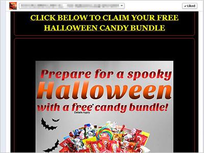 図5:無料のキャンディを宣伝する Webサイトの一例