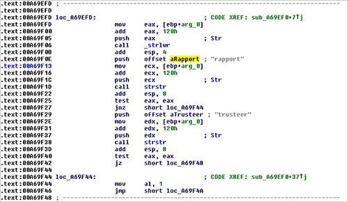 図1:Trusteer Rapport を検索するコードの一例
