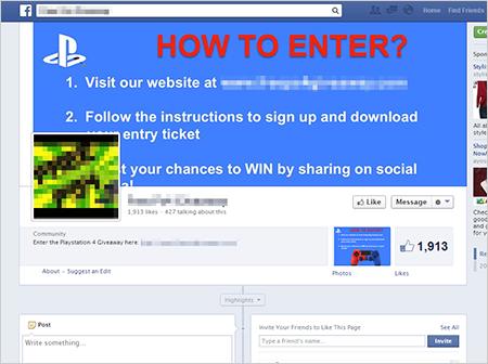 図1:PS4 を景品とする Facebookページ上の広告サイト