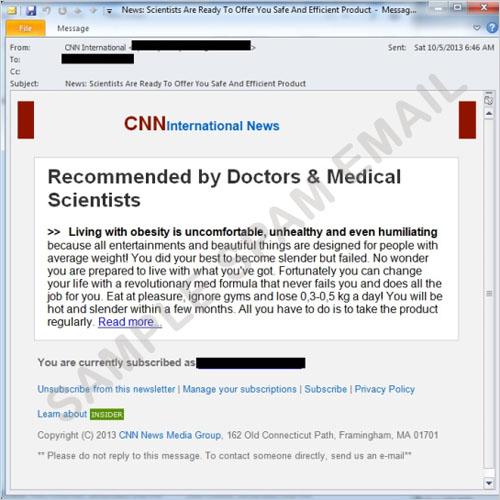 図1:医薬品に関連したスパムメール
