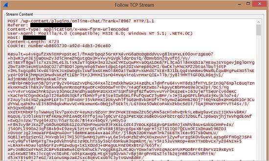 図6:暗号化された POST リクエスト