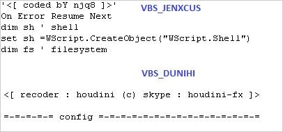 図4:復号後の「JENXCUS」(上)と「DUNIHI」(下)のヘッダの比較