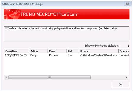 図7:OfficeScan の警告画面