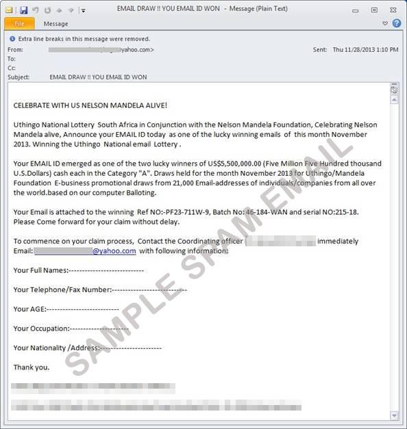 図1:マンデラ氏の死去以前に確認されたスパムメール