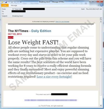 図3:健康に関連したスパムメールの一例