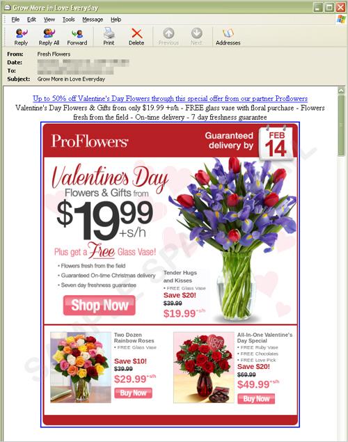 図1:バレンタインデー用の花束を販売するスパムメール
