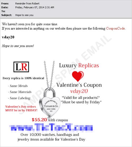 図3:腕時計の模造品を販売するスパムメール