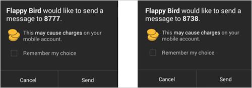 図3:特定の番号へのテキストメッセージ送信を試みる偽のアプリ