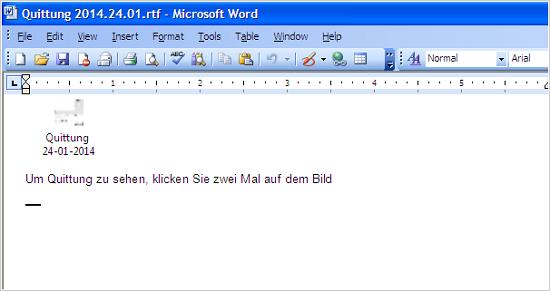 図1:ドイツ語が書かれた RTFファイル