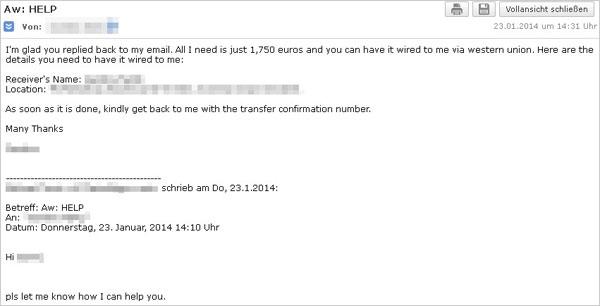 図2:返信後に送られてくる詳細を記した Eメール