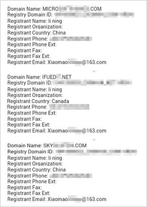 図2:「Li Ning」という名前で登録されたドメイン。Whois情報を元に判明