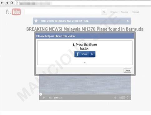 図2:消息不明の航空機を発見したと伝える偽の Webサイト